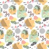Стиль ретро моды 80s или 90s года сбора винограда Картина Мемфиса безшовная Ультрамодные геометрические элементы абстрактная конс Стоковые Фотографии RF