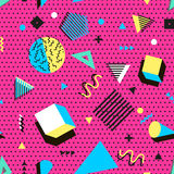 Стиль ретро моды 80s или 90s года сбора винограда Картина Мемфиса безшовная Ультрамодные геометрические элементы абстрактная конс Стоковая Фотография