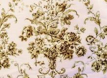 Стиль ретро предпосылки ткани Брайна картины шнурка флористической безшовной винтажный Стоковые Фотографии RF