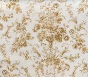 Стиль ретро предпосылки ткани Брайна Sepia картины шнурка флористической безшовной винтажный Стоковое Изображение