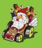 Стиль северного оленя Gokart. Поставка Санта Клауса подарки Стоковые Изображения