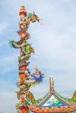 Стиль статуи дракона в китайском виске Стоковое фото RF