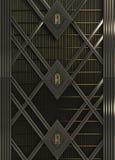 стиль стиля Арт Деко стены сделанный предпосылки стали и золота представляет Стоковая Фотография