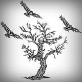 Стиль татуировки дерева и птицы Стоковая Фотография
