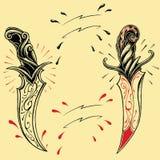 Стиль 01 татуировки oldskool кинжалов Стоковые Изображения