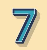 Стиль текста вектора письма 7 ретро, концепция шрифтов Стоковые Фото