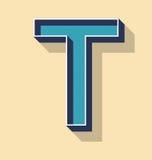 Стиль текста вектора письма t ретро, концепция шрифтов Стоковые Фото
