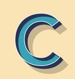 Стиль текста вектора c письма ретро, концепция шрифтов Стоковая Фотография RF
