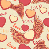 Стиль шаржа наслоил иллюстрацию вектора - картину дня валентинок милую безшовную с сердцем подогнали влюбленностью, который Стоковые Фотографии RF