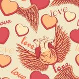 Стиль шаржа наслоил иллюстрацию вектора - милую безшовную картину с, который подогнали влюбленностью и naturalistic сердцем Стоковое фото RF
