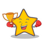 Стиль шаржа характера звезды победителя бокса бесплатная иллюстрация