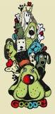 Стиль Doodle собаки битника притяжки руки милый иллюстрация штока