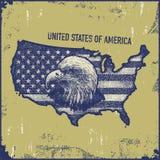 Стиль grunge карты США Стоковая Фотография RF