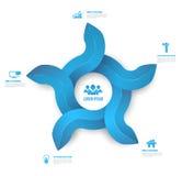 Стиль Infographic абстрактной иллюстрации стрелок 3D круга цифровой чистый Стоковое Изображение RF