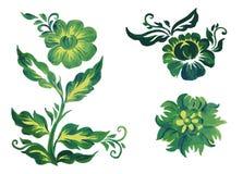 Стиль Petrykivka цветков зеленый Стоковая Фотография