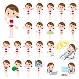 Стиль Swimwear спорта девушки школы Стоковые Фотографии RF