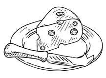 Стиль Woodcut куска сыра винтажный ретро Стоковое фото RF
