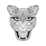Стиль zentagle леопарда для футболки, татуировки или книжка-раскраски бесплатная иллюстрация