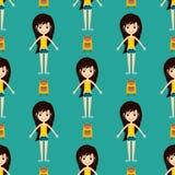 Стиля картины носки моделей девушек моды улицы характеры женщины безшовного модные стильные одевают вектор взглядов иллюстрация штока