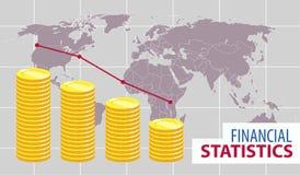 Стога диаграммы в виде столбов монеток с миром на предпосылке стоковое фото rf