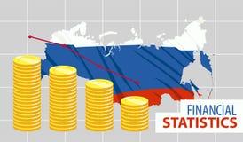 Стога диаграммы в виде столбов монеток с Россией на предпосылке стоковые изображения rf