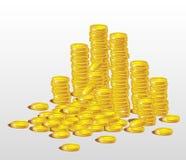 Стога золотых монеток Стоковые Изображения RF