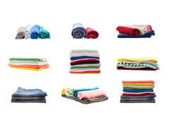 стога красочного собрания одежды изолированного на белом backgro Стоковая Фотография RF