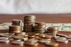 Стога монеток стоковое изображение rf