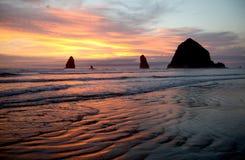 Стога моря карамболя приставают к берегу, северная береговая линия Орегона Стоковые Фото