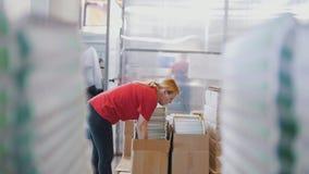 Стога напечатанного варианта перед видом работницы газеты в оформлении Стоковые Изображения