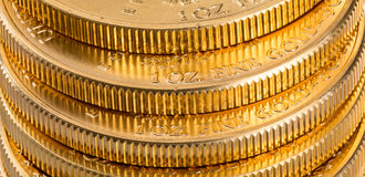 Собрание золотых монеток один унции Стоковое фото RF