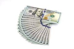 Стога долларов изолированных на белой предпосылке Взгляд сверху Стоковая Фотография RF