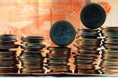 Стога долларов концепции монеток Стоковое фото RF