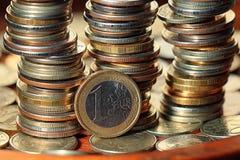 Стога долларов концепции монеток Стоковая Фотография RF