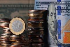 Стога долларов концепции монеток Стоковое Изображение RF