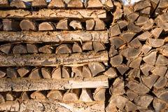 Стога древесины в forrest в зиме в Германии Стоковые Фотографии RF