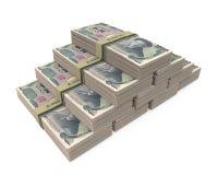 Стога 1000 японских изолированных иен Стоковое Фото
