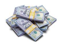 100 стогов пачки долларовых банкнот Стоковое фото RF