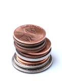 Стог американских монеток Стоковые Фотографии RF