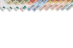 Стог банкнот евро имеет пустой изолированный космос Стоковая Фотография
