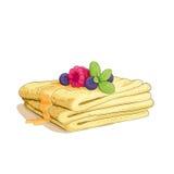 Стог блинчика с ягодами Стоковое Фото