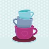 Стог вектора кружек и чашек кофе Стоковые Фотографии RF