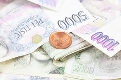 стог дег монетки бумажный Стоковое фото RF
