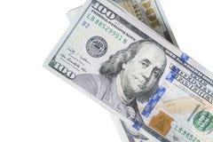 Стог денег в долларах США внутри получает внутри 100 долларовых банкнот наличными Стоковые Фотографии RF