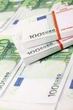 стог евро 100 счетов стоковая фотография rf