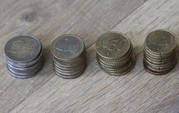 Стог евро чеканит от большого к малому на деревянной предпосылке стоковое изображение rf