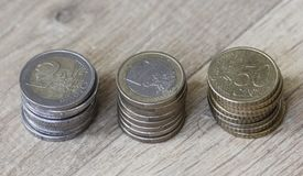 Стог евро чеканит от большого к малому на деревянной предпосылке стоковые изображения