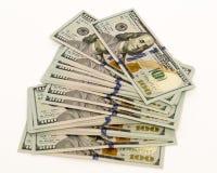 Стог денег в банкнотах наличных денег долларов США Стоковое Фото