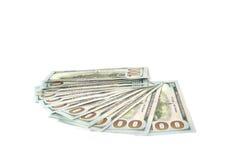 Стог денег на белой предпосылке Доллары Стоковое Изображение RF