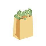 Стог денег финансов дела доллара бумажный в сумке пачек мы вариант банка и счеты банкнот изолировал знак богатства Стоковое Фото